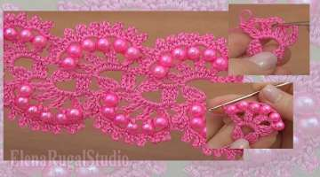 How To Crochet Beaded Tape Tutorial 27 דפוס תחרה הסרוגה