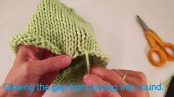 Closing the gap from joining knitting into the round.