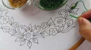 beaded hand embroidery neck design for dress