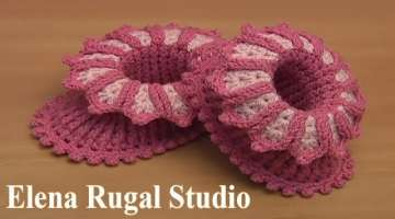 Crochet Floral Baby Booties Tutorial 65 Part 1 of 2