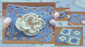 Crochet Square Motif with Flower Tutorial