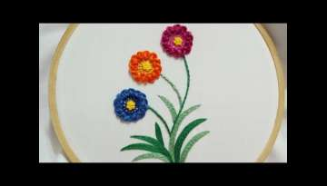 Hand embroidery of flowers with Scroll Stitch and leaves with stem stitch