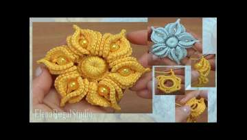 Crochet Amazing 3D Flower with Beads Tutorial