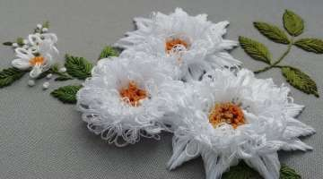Beautiful White Flowers : 3D Embroidery