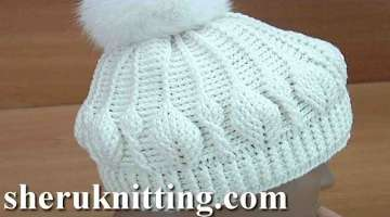 How to Do Crochet Leaf Stitch Hat Tutorial