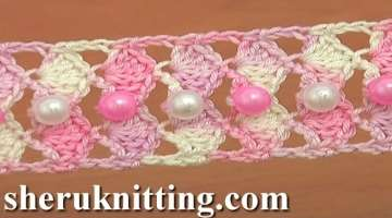 Сrochet Shell Stitch Tape with Beads Tutorial 24