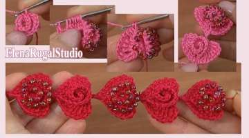 How to Crochet 3D Hearts with Beads Tutorial