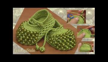 Crochet Beaded Baby Shoes Tutorial 81 part 2 of 2