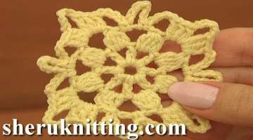 How to Crochet Square Motif Tutorial 8 Part 1 of 2