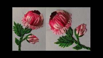 Amazing 3d Hand Embroidery Flower design tutorial