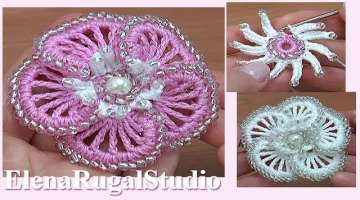 3D Crochet Beaded Flower with Stamens Tutorial