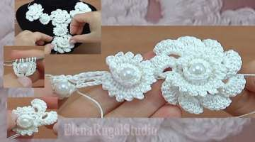 Crochet Floral 3D Cord with Beads Tutorial