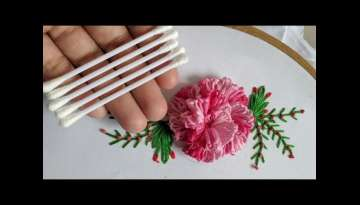 Amazing Hand Embroidery 3d flower design trick With cotton bud