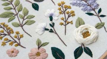 Embroidered Botanical elements for beginners
