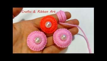 Sewing Hack| Handmade Woolen Tread Flower Making Idea