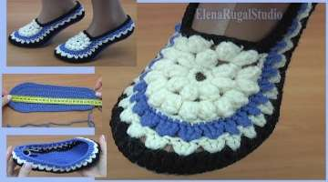 Crochet Slippers with Flower Tutorial
