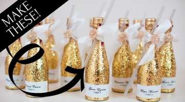 Sparkly Glitter Champagne Bottle Wedding Decoration