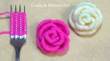 Amazing Trick with Fork - Easy Woolen Rose Making